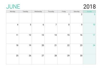 2018 June calendar or desk planner, weeks start on Monday