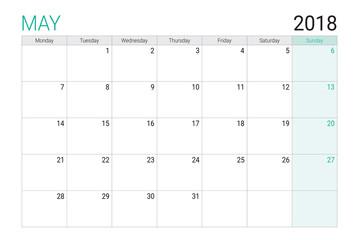 2018 May calendar or desk planner, weeks start on Monday