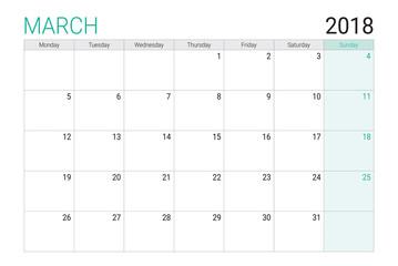 2018 March calendar or desk planner, weeks start on Monday