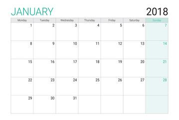 2018 January calendar or desk planner, weeks start on Monday