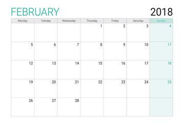 2018 Feburary calendar or desk planner, weeks start on Monday