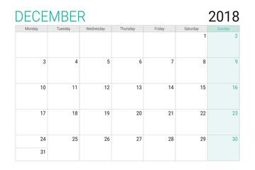 2018 December calendar or desk planner, weeks start on Monday
