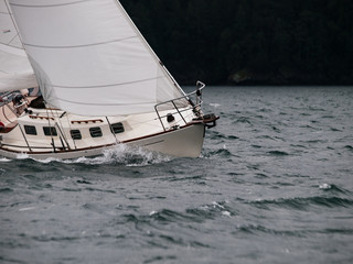 Sailing in a storm.
