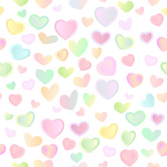Seamless bright festive background with multi-colored hearts