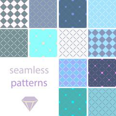 A collection of vintage seamless patterns with circles and embroidered with diamonds