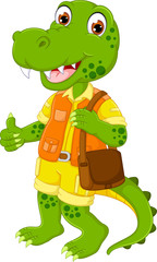 cute crocodile cartoon standing with smile and thumb up