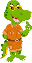 funny crocodile cartoon standing with smile and pointing fiiger