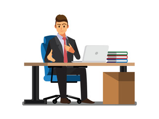 Business People  Desk,Vector illustration cartoon character