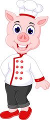 beauty pig chef cartoon standing wit