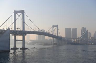 日本の東京都市風景「霞む港区などの街並みなどを望む」