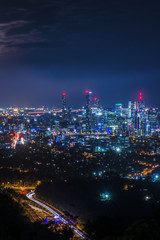 View of Brisbane from Mount Coot-tha at night. Queensland, Australia.