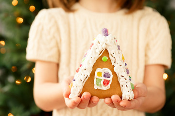 Girl holding a gingerbread house with Christmas tree background