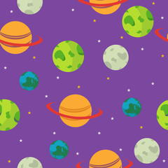 Vector cute flat space seamless pattern background template