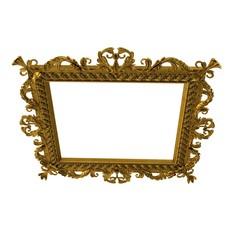 Gold vintage frame isolated on white. 3D illustration