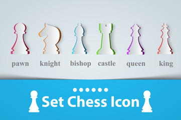 chess icon King, Queen, Castle Bishop Knight Pawn