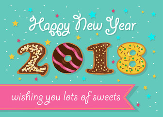 Happy New Year 2018. Chocolate donuts numerals