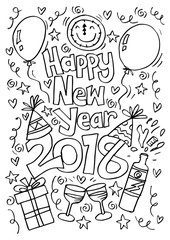 Doodle of happy new year 2018