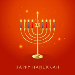 Happy Hanukkah greeting card vector illustration, Beautiful Menorah (traditional candelabra) on orange background.