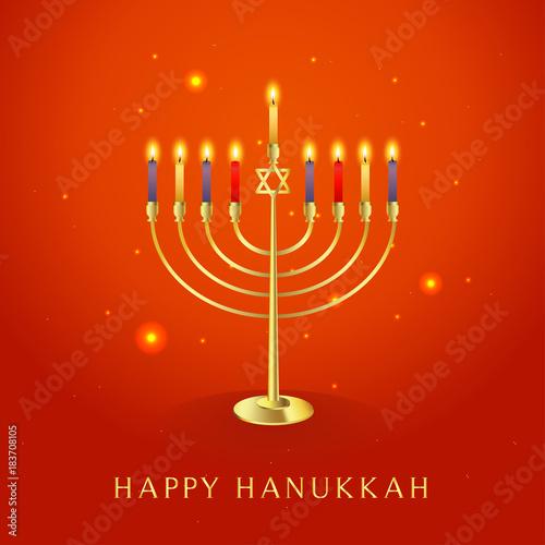 Happy hanukkah greeting card vector illustration beautiful menorah happy hanukkah greeting card vector illustration beautiful menorah traditional candelabra on orange background m4hsunfo