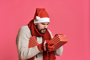 man looks inside the box, new year, gift, holiday