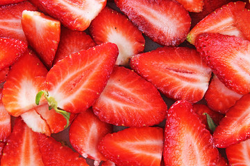 Red sweet strawberry texture as background. Strawberries pattern red whole big strawberries. Foog photo.