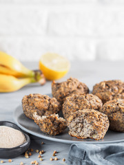 banana muffins with buckwheat flour and poppy seeds
