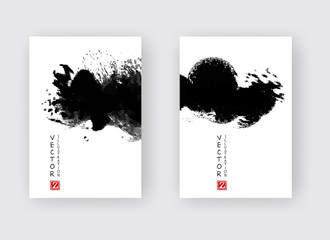 Banners with abstract black ink wash painting in East Asian style.