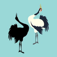 crane bird  black silhouette vector illustration flat style profile