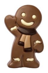 Christmas gingerbread man figure made from chocolate isolated on white