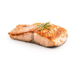 Poster Fish Salmon. Salmon roast steak isolated on white background