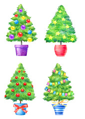 Watercolor illustration of decorated New Year trees in the pots isolated on white background