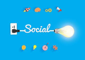 Social concept, with creative light bulb idea vector illustration modern design template