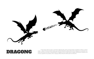 Black silhouette of dragons battle on white background. Fantasy monster. Knight's tales