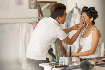 Doing eye make-up
