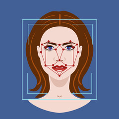 Facial Recognition System with a face of woman, vector illustration
