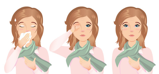 Young woman has an allergy, runny nose, cough, itching eyes, red eyes, watery eyes, tears. She is sick. / Flat design, vector cartoon illustration on a white background.