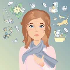 Young woman has an allergy, itching eyes, red eyes, watery eyes, tears. Allergic to dust, pollen, animals, medicines, food and insects. / Flat design, vector cartoon illustration
