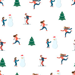 Happy people. Winter scene. Seamless pattern