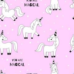 Unicorns. Vector illustration. Seamless wallpaper