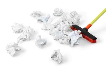 Broom Sweeping Crumpled Paper