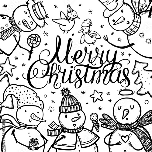 Christmas Images Cartoon Black And White.Christmas Card Design With Holidays Funny Snowman Candy
