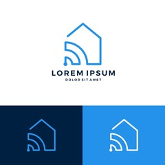 smart home house signal wifi wireless logo vector download
