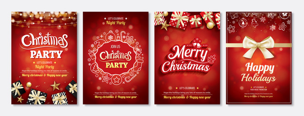 Merry christmas party glass ball and gift box for flyer brochure design on red background invitation theme concept. Happy holiday greeting banner and card template. Wall mural