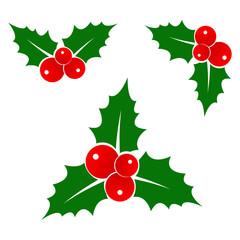 Holly Berry icon set. Christmas symbol. Xmas holiday decoration element. Vector illustration.