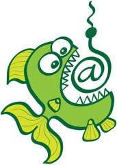 """Voracious green fish with bulging eyes, sharp teeth and wide open mouth directly going to bite a bait in form of """"At sign"""""""