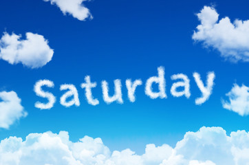Days of the week - saturday cloud word with a blue sky.