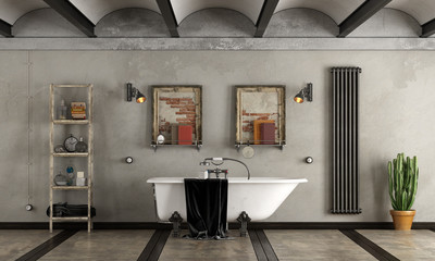 Bathroom in industrial style with bathtub