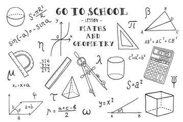 Maths and geometry. Hand sketches on the theme of Maths and geometry. Vector illustration.