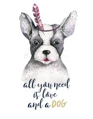 Akwareli zbliżenia portret śliczny pies. Pojedynczo na białym tle. . Ręcznie rysowane słodkie zwierzę domowe. Kartkę z życzeniami zwierząt pielęgniarski projekt dekoracji - 183727115