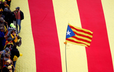 A Catalan separatist flag is seen during a rally held by pro-independence Catalans from all over Europe showing their support to ousted Catalan leader Carles Puigdemont and his government, in Brussels